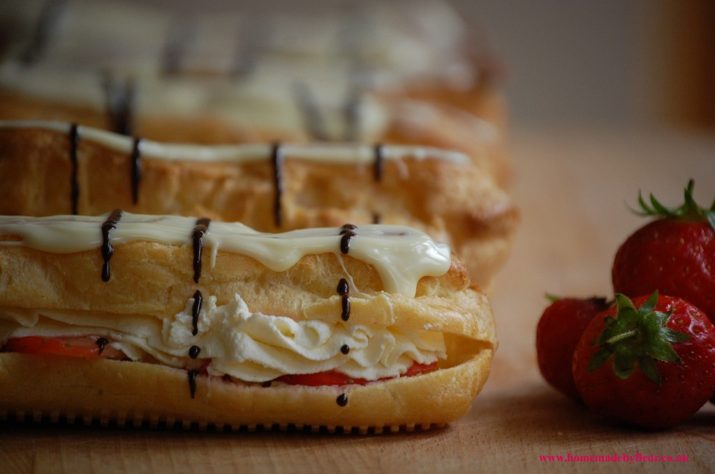 Strawberry, Cream and White Chocolate Eclairs
